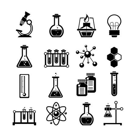 Chemie Forschung Icons Sammlung mit Atom-Molekül-Struktur-Symbol und Reagenzgläsern schwarze abstrakte Vektor-Illustration