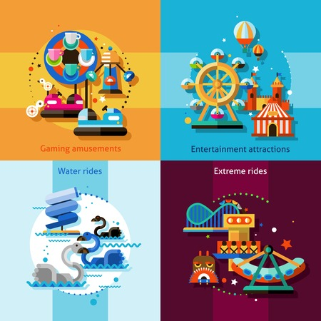 amusement park rides: Amusement park design concept set with gaming entertainment attractions water and extreme rides flat icons isolated vector illustration