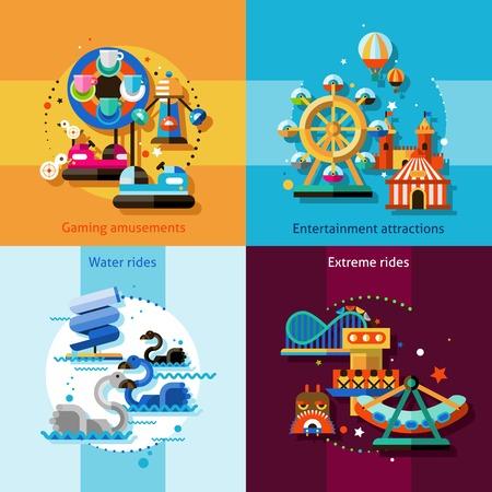 carnaval: concept de parc d'attractions fix�s avec des attractions de divertissement de jeu de l'eau et man�ges extr�mes ic�nes plates isol�s illustration vectorielle
