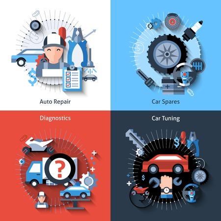 mecanico: Reparaci�n de coches concepto de dise�o conjunto con auto repuestos diagn�stico tuning elementos planos aislados ilustraci�n vectorial