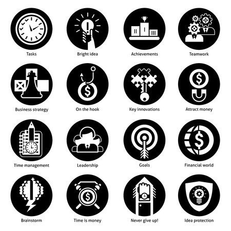 achievement concept: Business concept icons black set with tasks bright idea achievements teamwork isolated vector illustration Illustration