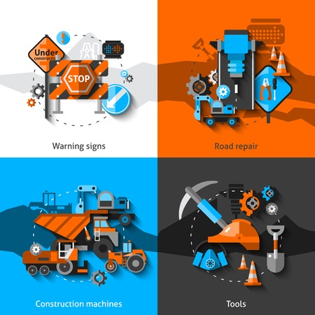 construction vehicle: Road repair design concept set with warning signs construction machines and tools flat icons isolated vector illustration