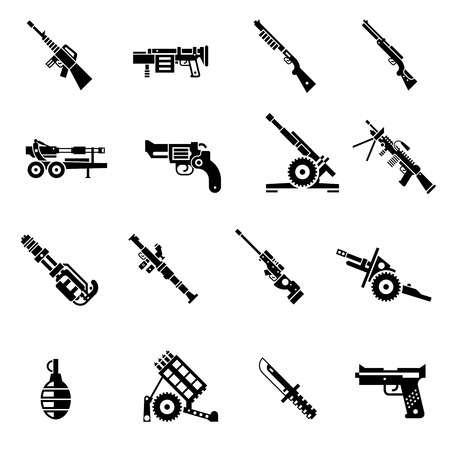 Weapon icons black Illustration