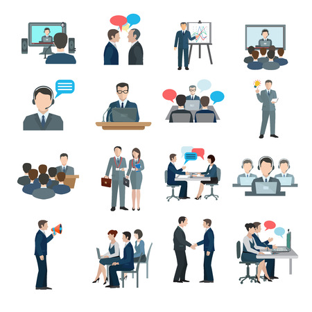 communication: Ícones Conferência plano conjunto com a comunicação de pessoas de negócios do grupo de trabalho isolado ilustração vetorial