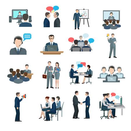 comunicación: Iconos Conferencia plana establecen con aislado de comunicación la gente de negocios del grupo de trabajo ilustración vectorial
