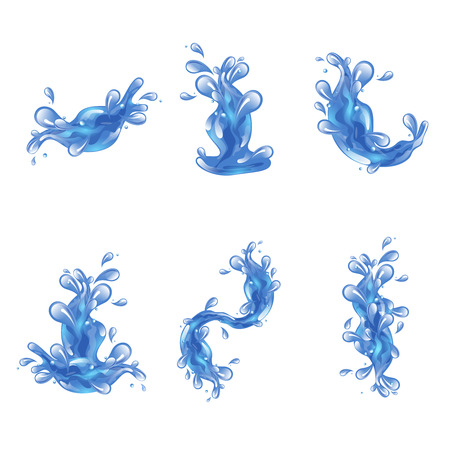 sea water: Blue sea water splash decorative icons set isolated vector illustration Illustration