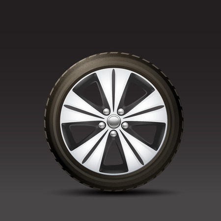 ring road: Realistic rubber and metal car wheel on black background vector illustration