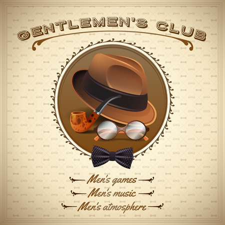 pijp roken: Vintage heren stijl poster met realistische hoed pijp bril en stropdas vector illustratie