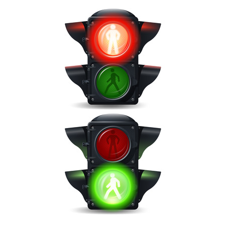 semaforo peatonal: Parada realista e ir peatonales sem�foros conjunto aislado ilustraci�n vectorial