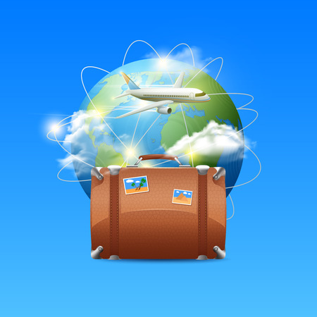 Travel poster with realistic globe tourist suitcase and airplane flying around the world vector illustration