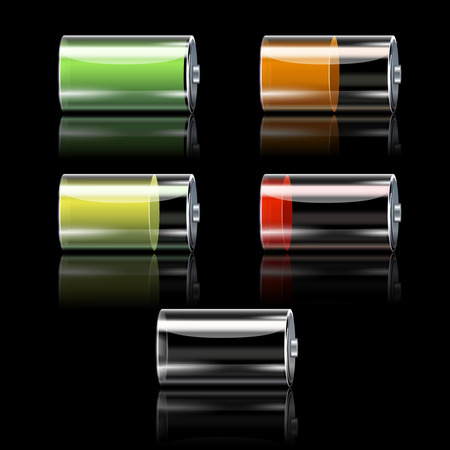 low glass: Realistic battery decorative icons set with different charge levels isolated vector illustration
