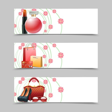 cosmetics: Women shopping horizontal banners set with realistic cosmetics fashion accessories elements isolated vector illustration