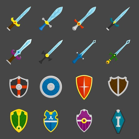 knight: Antique weapon color icons set with heraldic battle shields and crusader knights swords abstract isolated vector illustration Illustration