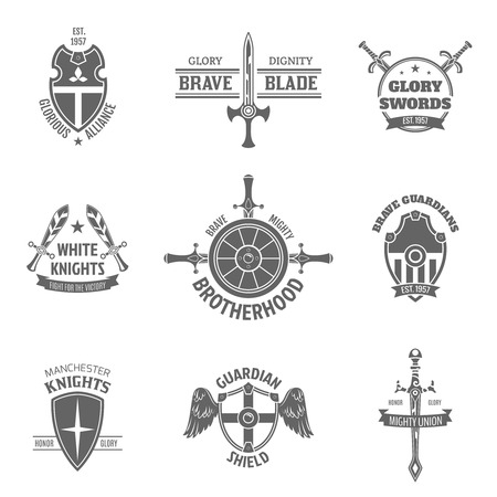 coat: Vintage heraldic coat of arms labels set with swords and guardian shields emblems icons isolated vector illustration