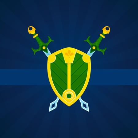la union hace la fuerza: Escudo her�ldico de la vendimia de armas caballeros cartel protecci�n del emblema con escudo y espadas de color abstracto ilustraci�n vectorial
