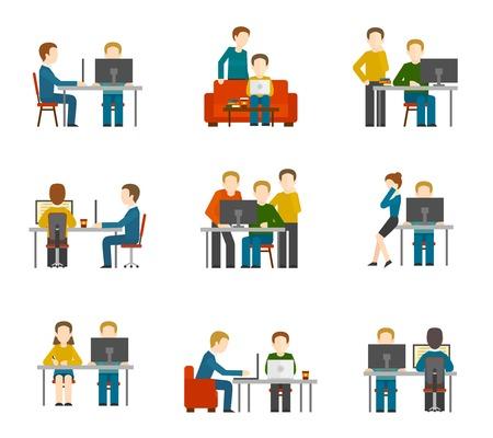 Iconos centro de coworking establecidos con los colegas del diseñador freelance grupo creativo aislado ilustración vectorial de trabajo