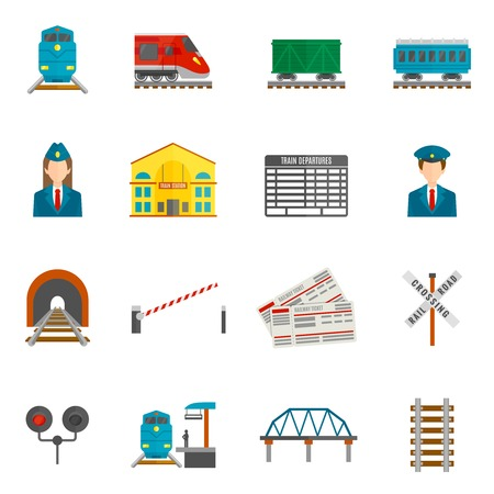 Spoorweg vlakke pictogrammen set met geïsoleerde locomotief wagon dirigent vector illustratie Stock Illustratie