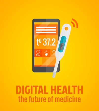 digital thermometer: Concetto di salute digitale con smartphone e termometro illustrazione vettoriale piatta
