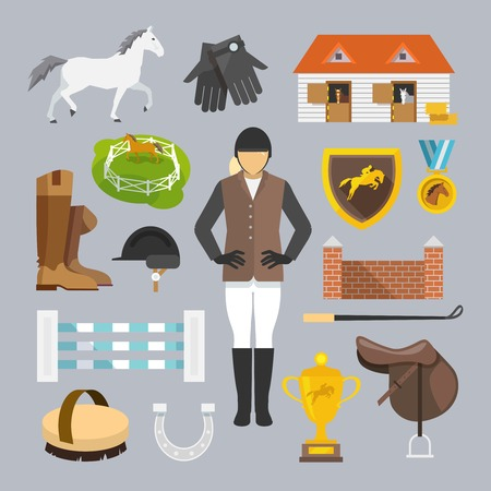 jump: Jockey decorative icons flat set with horse grooming brush champion trophy isolated vector illustration Illustration