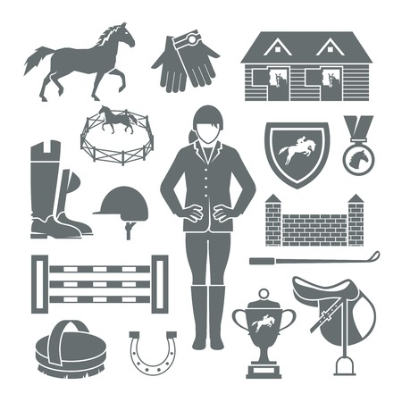 salto de valla: Jockey iconos conjunto negro con la medalla de la silla de montar de herradura barrera aislado ilustraci�n vectorial
