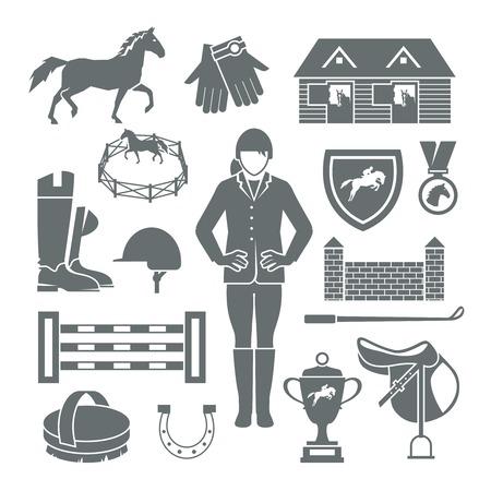 Jockey pictogrammen zwart set met hoef zadel medaille barrière geïsoleerd vector illustratie