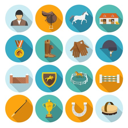 saddle: Jockey flat icons set with trophy rider derby champion isolated vector illustration