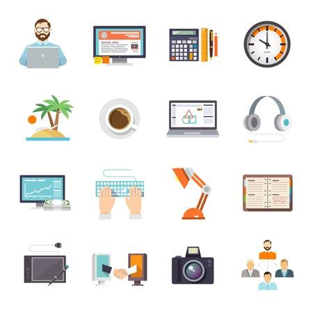 freelancer: Freelance icon flat set with freelancer laptop business meeting isolated vector illustration Illustration