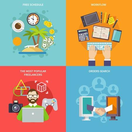 Concept design freelance con workflow programma gratuito freelance più popolari Ordini di ricerca icone piane isolato illustrazione vettoriale Vettoriali