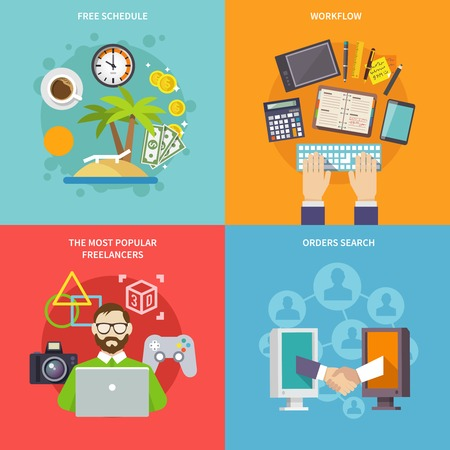 set free: Freelance design concept with free schedule workflow most popular freelancers orders search flat icons isolated vector illustration