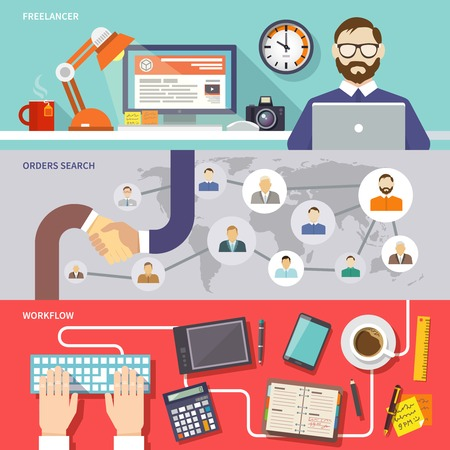 work popular: Freelance horizontal banner set with freelancer orders search workflow flat elements isolated vector illustration Illustration
