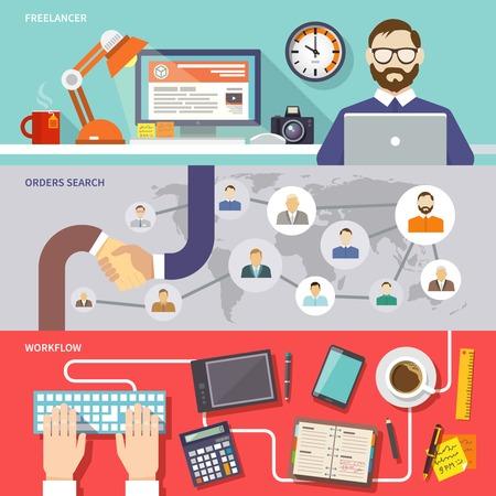 freelancer: Freelance horizontal banner set with freelancer orders search workflow flat elements isolated vector illustration Illustration