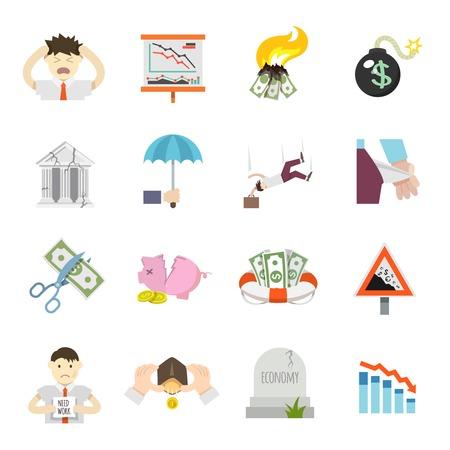 Economische crisis financiën depressie investeren recessie vlakke pictogrammen set geïsoleerd vector illustratie Stock Illustratie