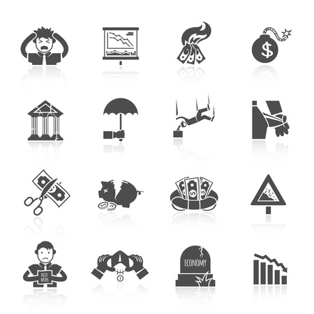 economic depression: Economic crisis banking and finance depression black icons set isolated vector illustration