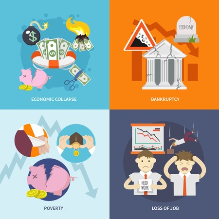 collapse: Economic crisis design concept set with collapse bankruptcy poverty job loss flat icon isolated vector illustration Illustration