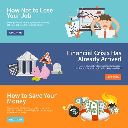 job loss: Economic crisis horizontal banners set with job loss money save flat elements isolated vector illustration Illustration