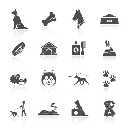 dogs: Pet icons set with dog walking running guard isolated vector illustration