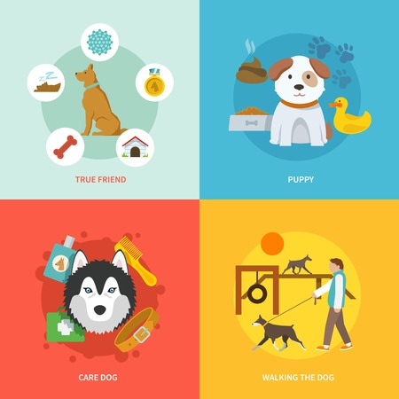 puppy isolated: Dog design concept set with true friend puppy care flat icons isolated vector illustration Illustration