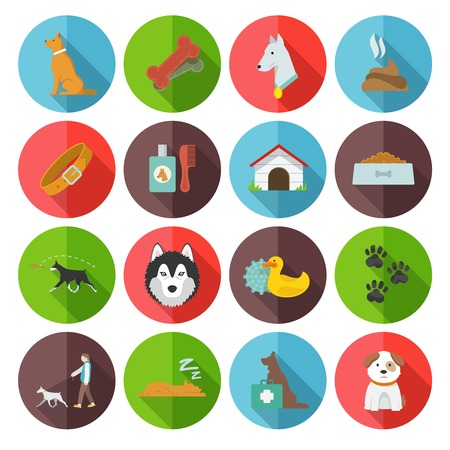 dung: Dog icons flat set with dung garbage puppy walking isolated vector illustration