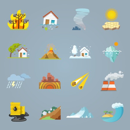 burning: Natural disaster icons flat set with hurricane tornado forest fire isolated vector illustration Illustration