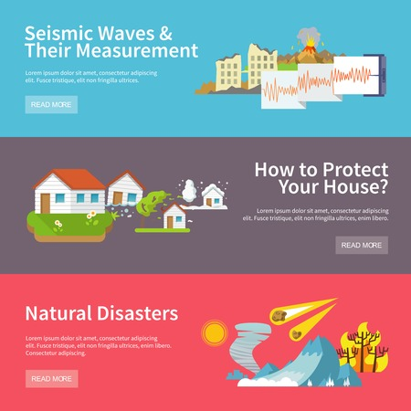 seismic: Natural disaster horizontal banners set with seismic waves measurement house protect elements isolated vector illustration