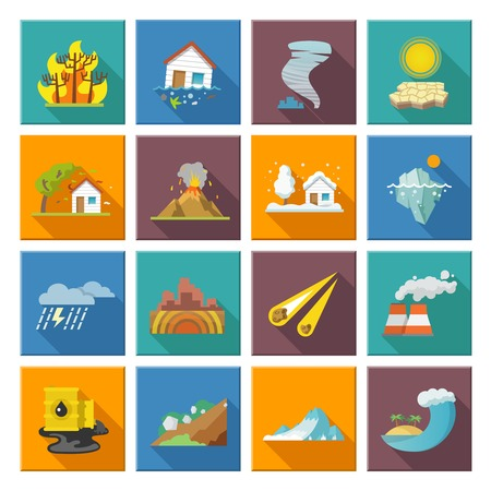 volcanos: Natural disaster icons set with tide volcano erupting earthquake flood isolated vector illustration