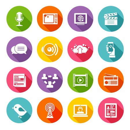 communication tools: Media multimedia and business communication icon flat set isolated vector illustration