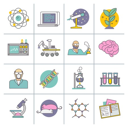 Science experiment and research equipment flat line icons set isolated vector illustration