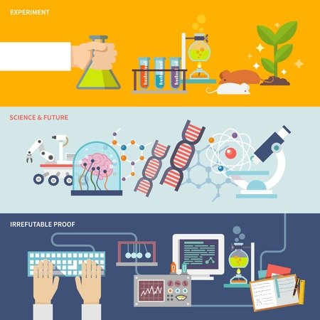 science experiment: Science and research horizontal banner set with experiment irrefutable proof and future flat elements isolated vector illustration