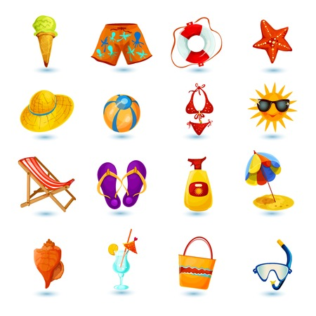 sea star: Summer holidays decorative icon set with ice cream shorts lifebelt sea star isolated vector illustration
