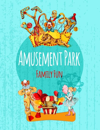 circus clown: Amusement park circus festival family fun hand drawn poster vector illustration Illustration