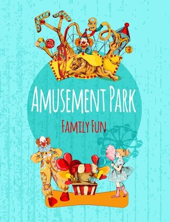 Amusement park circus festival family fun hand drawn poster vector illustration Illustration