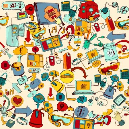 インターネットのものリモート管理システムの手の描画シームレスなパターン ベクトル イラスト