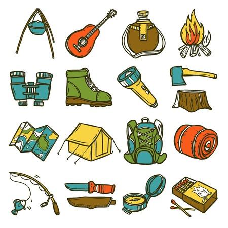 Camping icona schizzo set con tenda ascia bussola lanterna illustrazione vettoriale isolato