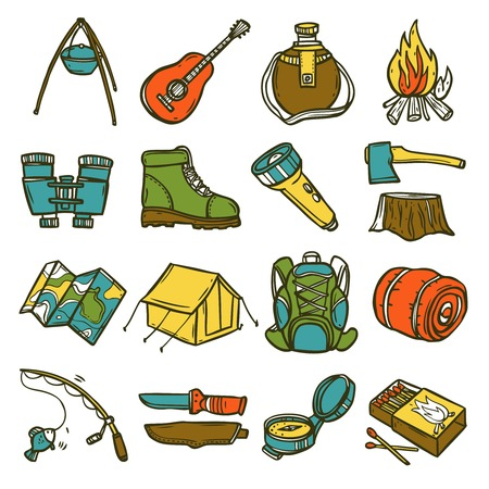 Camping sketch icon set with tent axe compass lantern isolated vector illustration